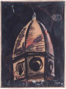 Mario Sironi, Studio per la cattedrale, olio tempera inchiostro e matita grassa e collage cm 31x23, 1920