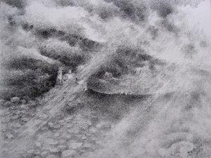 Joanna Brzescinska - Riccio, LA TERRA DI MEZZO, disegno a china su carta Magnani, 20x27,5, 2015 (1)